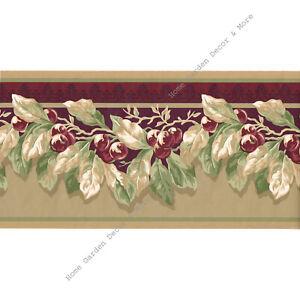 "WAVERLY Red Burgundy Cherry Fruit Green Vine Leaf Tan Wall Paper Border 8.46"""