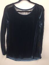 Soft Surroundings Voleta Velvet Top Blouse Black Lace Small S 27584 Sexy