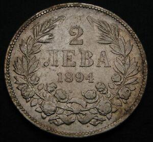 BULGARIA 2 Leva 1894 - Silver - Ferdinand I. - VF - 1503