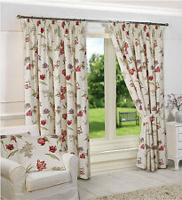 Floral 100% Cotton Curtains with Pencil Pleat