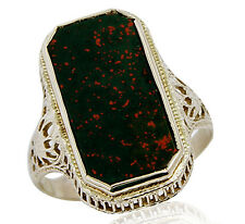 VTG Victorian Natural Bloodstone Solitaire Ring in Solid 10k White Gold