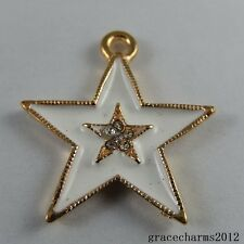 5 pcs Gold Alloy White Enamel Paint Crystal Star Craft Charm Pendant Findings