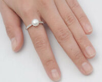 USA Seller Genuine Freshwater Pearl Ring Sterling Silver 925 Size 7