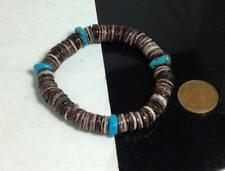"""Violet oyster shell  heishi / turquoise bracelet/6.5""""-7""""(y355e-w0.5)"""