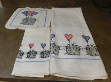 Boynton Cat with Heart Balloon 3 pc Towel Set irregular please read description