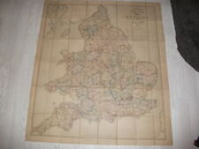 1874 STANFORD'S COLOUR RAILWAY AND ROAD MAP OF ENGLAND AND WALES 48 PANEL