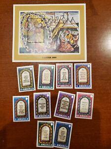 ANGUILLA Scott #526-535 10 Commandments set, plus Souvenir Sheet MNH!