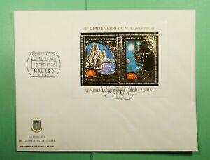 DR WHO 1973 EQUATORIAL GUINEA FDC COPERNICUS SPACE ANIV S/S GOLD  Lg13126