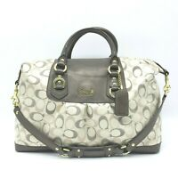 COACH Large Tote Shoulder Bag Overnight Monogram Cream Textile & Leather 11 X 17