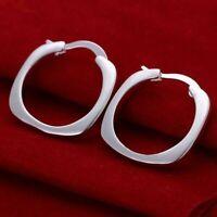 Silver Plated Flat Square Earrings Boho Jewellery Fashion Summer Festival