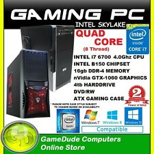 INTEL i7-6700 QUAD CORE 4.0GHz Gaming PC Computer 16GB ram 4tb HDD GTX=1060 GFX