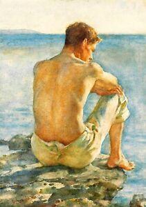 Henry Scott Tuke   Watching the sea    Wall  Art  Canvas