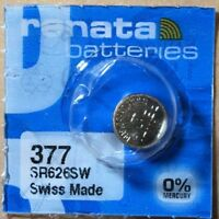 1 - Renata 377 Battery SR626SW  Silver Oxide. Authorized Seller. Exp 01/2022