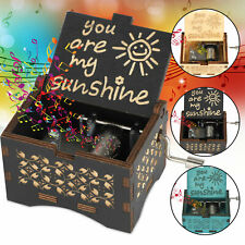 Music Box You are My Sunshine Wooden Classic Music Box Crafts Hand Crank Gift US