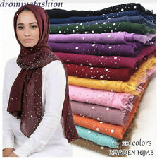 Women Cotton Scarf Long Scarves Snow Dot Bead Wrap Shawl Muslim Pearl Hijab Cape