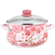 Large Enamelware Stock Pot with Glass Lid w/ Sakura Decal. Healthy Cooking