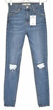 Topshop Skinny JAMIE High Rise Blue RIPPED FRAYED Jeans Size 12 W30 L34
