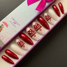 Hand Painted False Nails XL COFFIN or XL STILETTO Christmas Gonk - Red Xmas - UK
