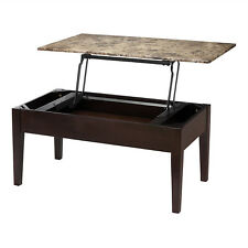 Espresso Coffee Table Living Room Center Hidden Storage Faux Marble Lift Top New