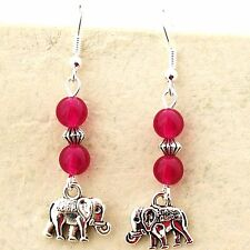 Rose Jade Earrings Tibetan Silver Elephant Sterling Silver Hooks New Pink LB175