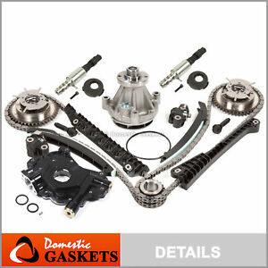 04-08 Ford Lincoln 5.4L Timing Chain Kit HP-Oil Pump Water+Cam Phasers+Solenoid
