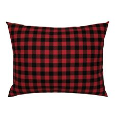Buffalo Check Buffalo Plaid Red Black Winter Fall Pillow Sham by Roostery