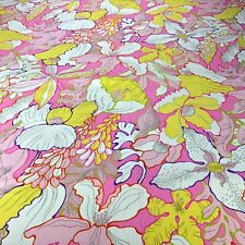 VTG Neon Hot Flower Power Fabric Material RETRO Hippy Stretch Pink BOLD Groovy