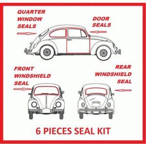 Volkswagen VW BUG Beetle 1972 - 1979 Door and Window Rubber seals 6 Pieces