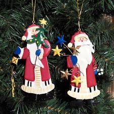 4X Christmas Metal Hanging Santa Tree Star Ornament Xmas Decoration Décor