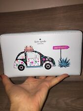 NWT KATE SPADE SCENIC ROUTE ZIP AROUND WALLET ORGANIZER CHIHUAHUA DOG CAR