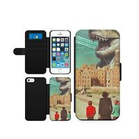 Dinosaur TRex Retro Mobile Wallet Magnetic Flip Case Cover Faux Leather