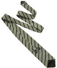 HUGO BOSS Classic Mens Textured Stripe Silk Necktie Tie Black Off White  RRP £80