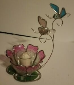 Stained  GLASS PINK CANDLE HOLDER  GLASS FLOWER WITH BUTTERFLYS