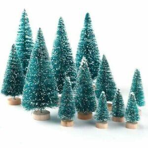 12Pcs Mini Miniature Sisal Bottle Brush Snow Frost Christmas Trees Green New