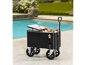 Sunjoy A601006600 Audrey 60-Quart Rolling Cooler Cart, Black New