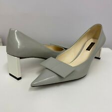 Louis Vuitton Leather Shoes Bow D'Orsay Grey And Off White Size 35 1/2