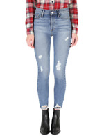 BLACK ORCHID Joan Slim Straight High Waist Jeans Paradise Rip Blue 27 $176 #432