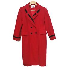Rothschild Red Wool Winter Trench Coat Black Trim, Double Breasted, Vintage, S