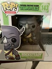 Funko Pop! T.V. T M N T Rock Steady 143 Rare Vaulted *Slight Crease* {Fpb2}