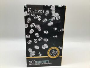 Festive 200 Cold White Battery Operated(6 On/18 Off) Led Timer Lights 65 ft.