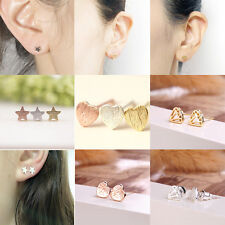 Fashion Cute Silver/Gold Star Heart Diamond Ear Studs Earring Jewelry 1 Pair NEW