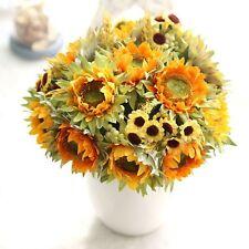 1 Bunch Artificial Sunflowers Bouquet Slik Fake Flower Home Room Table Decor