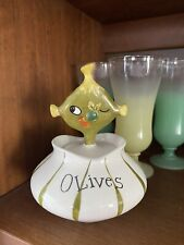 vintage HTF Holt Howard Pixieware Olive Jar