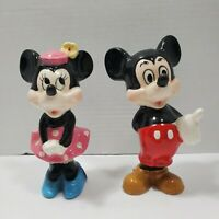 Disney Mickey & Minnie Porcelain Ceramic Figures Made in Japan Read Description