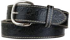 Big & Tall Men's Western Leather Belt BLACK Cowboy Style Sizes 34 - 60