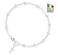 19cm Damen Silberarmband Rosenkranz Bettelarmband mit Kreuzanhänger Silber 925