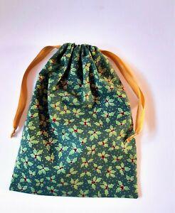 HANDMADE - Green Wine Gold - Drawstring Fabric Gift Bag - Unlined - Christmas