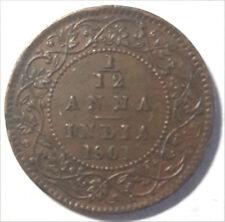 BRITISH INDIA 1/12 ANNA COPPER VICTORIA EMPRESS 1901 XF+