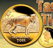 1 oz LMT EDITION Tasmanian Tiger Colourised Finished in 999 24k Gold Coin Medal