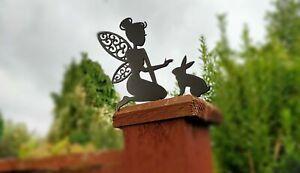 Fence Top Fairy Pixie With Bunny Rabbit